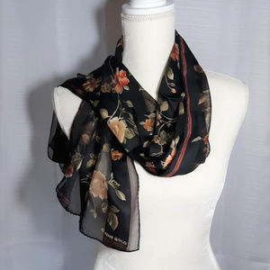 ELAINE GOLD Fall Floral Sheer Oblong Scarf
